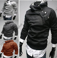 Wholesale NEW High Quality Men s Hoodies Sweatshirts Rabbit Hair Collar Oblique Zipper Men s Jacket Coat