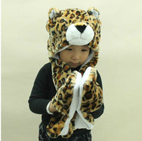 Wholesale New children s winter hat scarf gloves cartoon animal even boys and girls must warm three piece set
