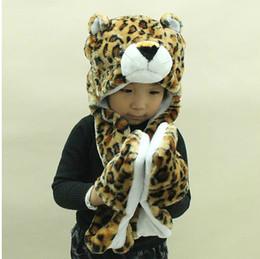 2014 New children's winter hat scarf gloves cartoon animal even boys and girls must warm three piece set