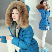 Wholesale Women Elegant Blue Long Sleeve Warm Down Coat with Hat Slimming Fit Winter Parkas yn059