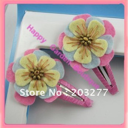 Wholesale felt flower with beads B B hair clip color for your choose