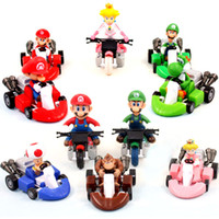 Wholesale 50sets Super Mario Bros Kart PullBack Cars quot figure Toy Mario Karts Pullback Car Dolls Set of