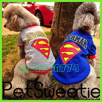 Wholesale DHL Free Ship Best Pets Clothes Dog Puppy Clothes Cotton Superman Apparel T Shirt Blue Grey