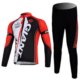 Bicycle Giant Red Outdoor Sports Long Sleeves Jersey+ Bib Pants Bike Cycling Size M- XXXL