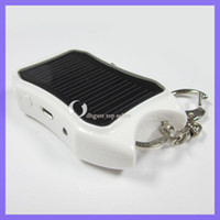 Wholesale 1200mAh Emergency Mini Solar USB Charger Power Bank For iPhone HTC MP3 White Black with LED light