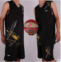 Wholesale Customized Basketball Sets Black Jersey Clothing Basketball Jerseys Suits Men Asian Size XL XL