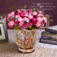 Wholesale Fashion Wide Mouth Small Flower Pot Hand Painting Ceramic Flower Vase