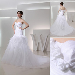Wholesale 2013 Sweetheart Tulle Layers Ruffles Pleats Mermaid Long Wedding Dresses Bridal Gown LLH
