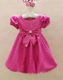 Wholesale Children s Girls Party Dress red short sleeve Big Bowknot kid s evening Dress