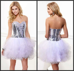 Wholesale Dazzing sweetheart sequin layered Corset Bodice Sheer homecoming dress prom dresses party dresses