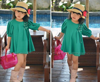 Wholesale 5pcs New Fashion cute Girls Puff Sleeve Dress Long T shirt Girl skirt dresses