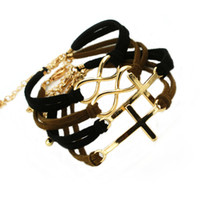 other / other anchor symbols - Punk Cross and infinite Infinity symbol anchor leather cord charms bracelet cheap jewelry