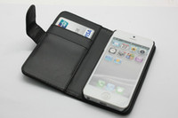 Leather For Apple iPhone IPHONE 5 Wholesale - Wallet Leather Flip Case Cover Pouch with Inner Card Slot for iphone5 iphone 5 5G