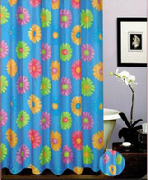Wholesale Shower Curtain Waterproof Polyester Antimildew Fabric thick Bath Curtain Colorful Daisy Blue Green