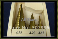Wholesale 3 HSS Steel Step Drill Bit Titanium Coated Hole Cut Tool Set Brand New