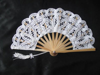 Hand Fans hand fans - Lace Fans Bridal Wedding Fans Ladies Hand Fans Bridal Accessories Handmade Plain White Color Bamboo with Lace Small Folding Fans