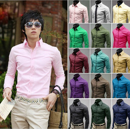 Wholesale Hot sale Pure color shirt dress and put leisure man shirts multicolor long sleeve shirts