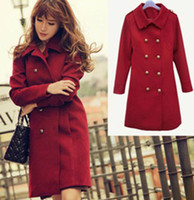Women Full_Length woolen New Warm double breasted woolen coat ladies wind slim wine-red long overcoat