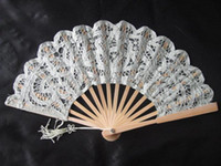 Wholesale Lace Fans Bridal Wedding Fans Handmade White Color Bamboo and Cotton Folding Fans Ladies Hand Fans Wedding Gifts and Souvenirs