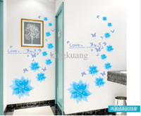 Wholesale removable wall stickers glass paste romantic wallpaper flower vine home decor