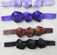 Wholesale Baby new Triple Mini Satin Ribbon Roses Flowers Thin Headbands Baby Flower Headbands