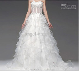 Wholesale The sexy micro through lotus leaf straps organza wedding princess bride wedding