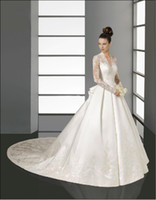 Wholesale Sumptuous Lace Long Sleeves V Neck A Line Embroidery Satin Cathedral Train Wedding Dress Bridal Gown
