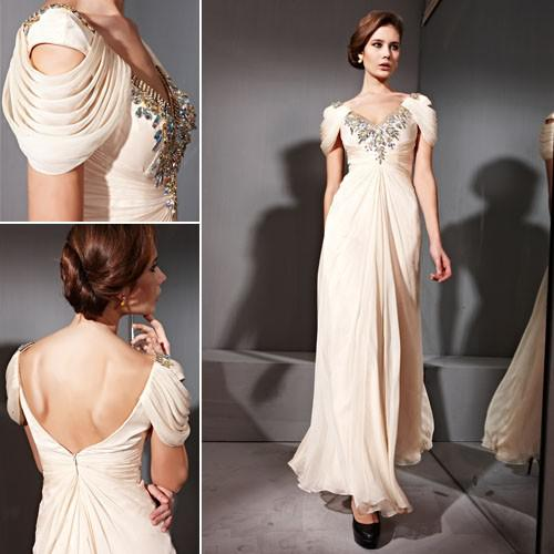 Sexy V Neck Cap Sleeves Open Back Beaded Cream Gold Evening Dress ...