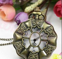 Wholesale 12pcs Steampunk Style Bronze Rose Flower Hollow Quartz Pocket Watch NW11062