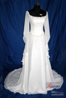 Wholesale 2013 sexy A line Long Sleeves wedding dresses medieval bridal gown embroidery Chiffon BHC991