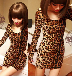 Wholesale HOT SEXY LEOPARD PRINT LONG SLEEVE OPEN BACK BODYCON SLIM FIT MINI PARTY CLUB DRESS TOP CL0078