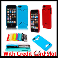 Plastic For Apple iPhone For Christmas ID Credit Card Holder Plastic Hard PC Case Back Cover Skin Pouch Protector for Apple Iphone 5 5G 5th