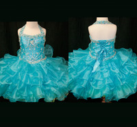 Wholesale 2013 Blue Ball Gown Little Girl Pageant Dresses Strapped Beaded Pleated Ruched organza Dress Z