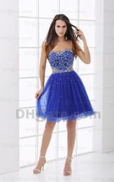 Wholesale Royal Blue Homecoming Dresses Sweetheart Black and Silvery Beaded Sequins Bodice Open Waist Draped