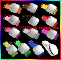 Wholesale 30pcs LED Light Mirror Fashion Watches Silicone Soft Band Plastic Colors Face Watch