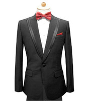 Wholesale Custom made men suit black men wedding suit double layer collar mens tuxedo Jacket Pants Tie Pocket