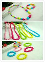 Wholesale Mix Color Resin Beads Necklace Plus Bracelet Set Hot Sale Children Jewelry Set