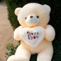 Wholesale White color Plush LOVE HEART TEDDY BEAR BIG STUFFED TOY Valentine s Day Wedding Gift Birthday Gift