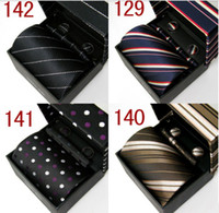 Wholesale 10sets Solid Silk Mens Necktie Handkerchief Cufflinks Suite Box Wedding Wide Tie Gift Bag D8