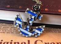 Women's Fashion Necklaces Blue ocean Anchor Necklace pendants metal alloy jewelry with rose flower diamond fashion ornaments f