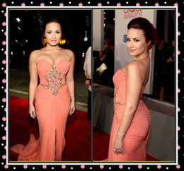 Wholesale 2012 Demi Lovato People s Choice Awards Beaded Actual Images Draped Chiffon Celebrity Pageant Dress