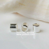 Wholesale 2 mm solid sterling silver crimp tube bead spacer stopper beads jewelry diy findings
