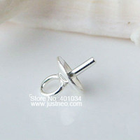 Wholesale 3mm mm mm solid S925 sterling silver eye pins pearl cap pendant connector findings bead caps cup with peg