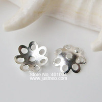 Wholesale solid sterling silver flower bead cap spacer bead caps jewelry diy silver findings components