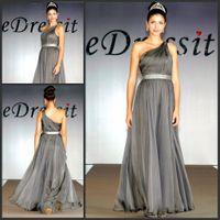 Wholesale Hot sale grey one shoulder silver belt chiffon fabric evening dress prom dresses