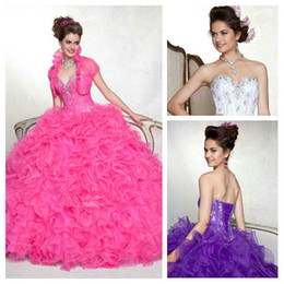 Wholesale Splendid White Purple Organza Beaded and Sequin Floor length Quinceanera Ball Gowns