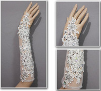 Wholesale Luxury Crystal Lace Applique No Finger Bridal Gloves Elbow Length For Bridal Gown Wedding Dresses