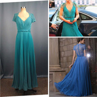 Wholesale 2013 Sexy V Neck Cap Sleeves lace Evening Dresses Kate middleton Jenny Packham Green Celebrity Dress