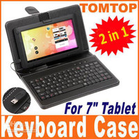 Wholesale Free ship Leather Case with USB Keyboard bracket for inch Tablet PC ainol NOVO Via8650 pc C1391