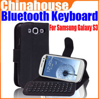 Wholesale Wireless Bluetooth Keyboard Leather Case Cover For Samsung Galaxy S3 SIII i9300